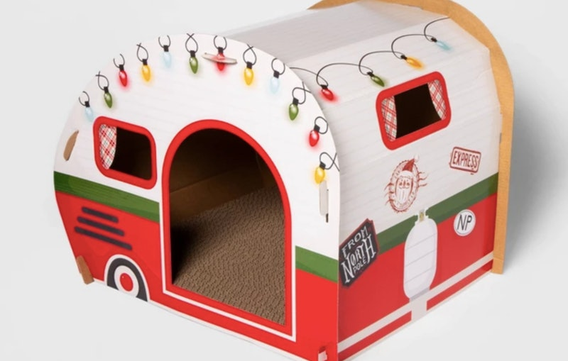 Target's new holiday cat scratchers include a ski chalet and an RV.