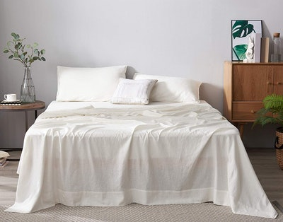 DAPU French Natural Linen Sheets, 4-Piece Set