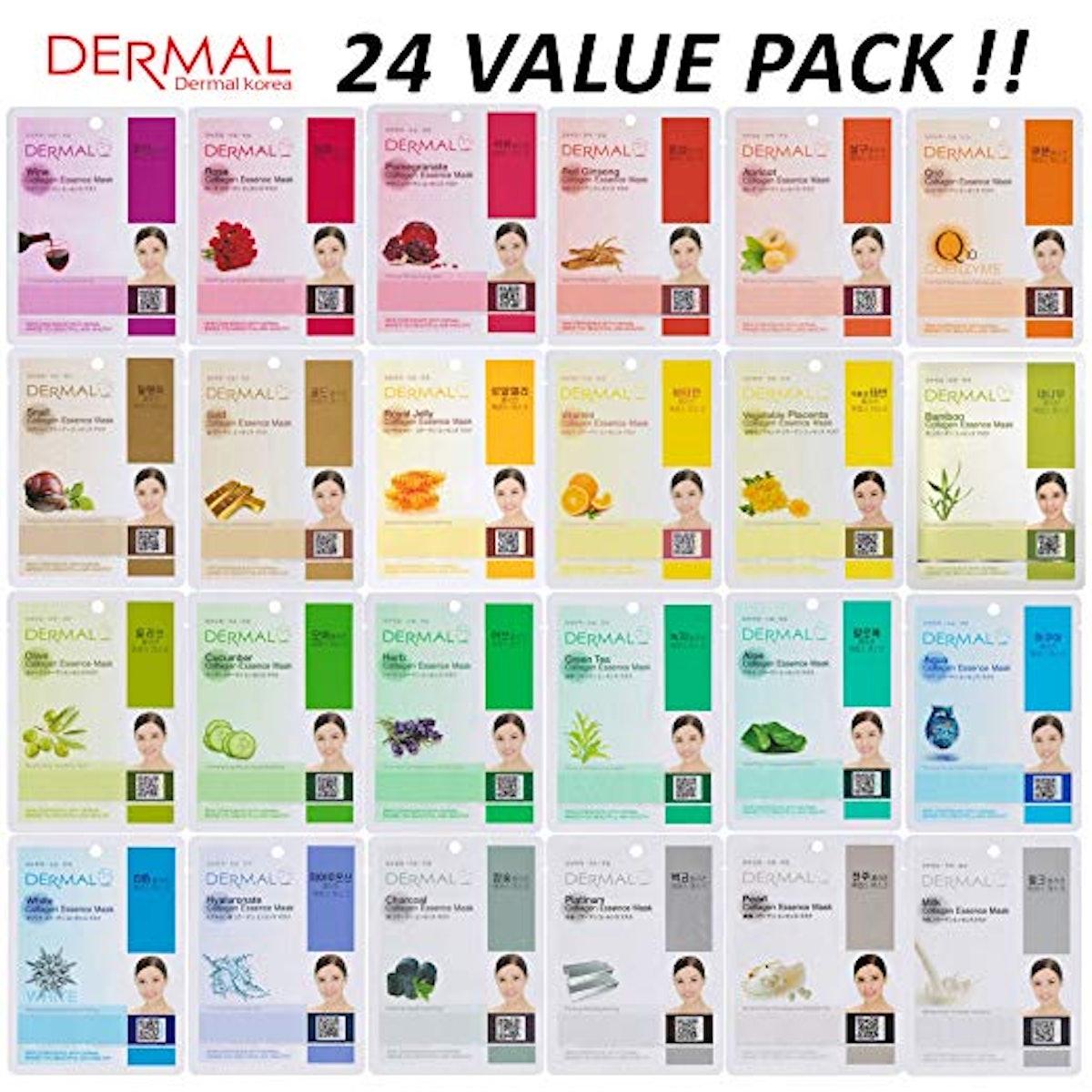 DERMAL Collagen Essence Full Face Mask Sheet (24-Pack)