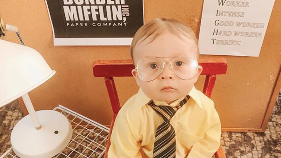 A baby's Dwight Schrute Halloween costume is going viral.