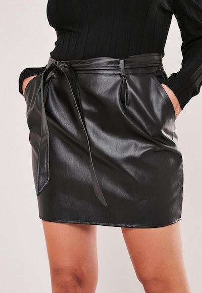 Plus Size Black Faux Leather Mini Skirt