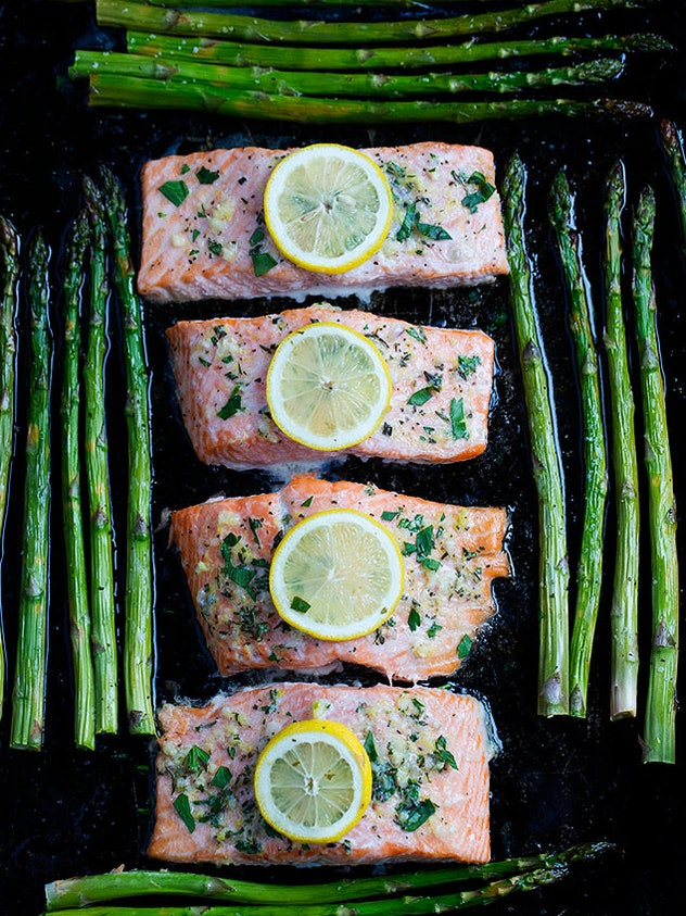Sheet Pan Baked Salmon with Asparagus recipe from Two Peas & Their Pod is a quick and tasty dinner