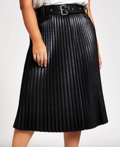 Plus Black Faux Leather Pleated Midi Skirt