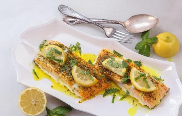 Tori Avey's uri buri lemon turmeric salmon recipe is a simple dish packed with bold flavor