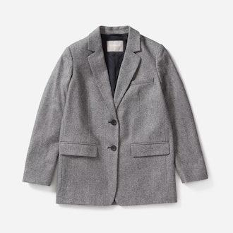 Gray Herringbone Oversized Blazer