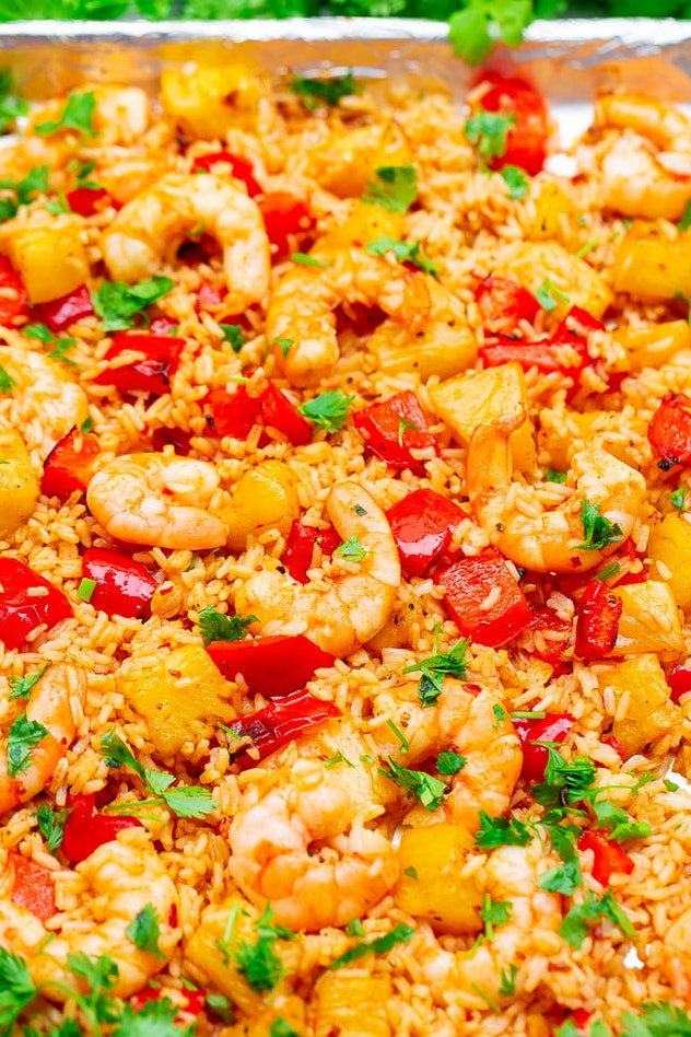 Sheet pan Hawaiian shrimp and rice