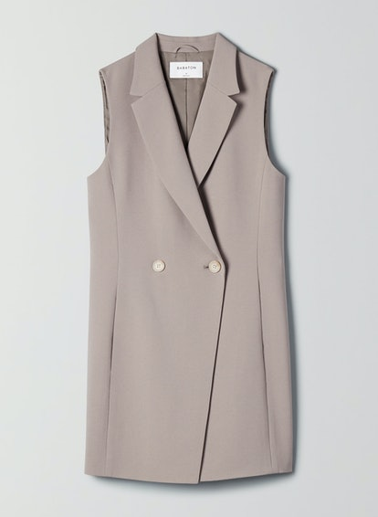 Long Double-Breasted Blazer Vest