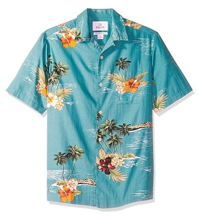 28 Palms Men's Relaxed-Fit Tropical Hawaiian Shirt in Dark Aqua Scenic