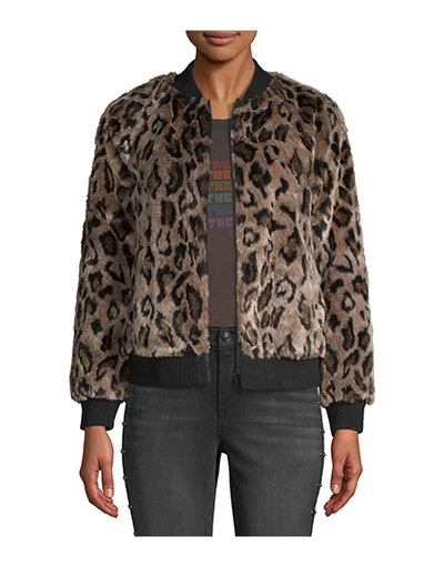 Scoop Faux Fur Leopard Zip Up Bomber Jacket Women's