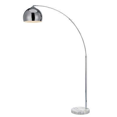 """Versanora - Arquer 66.93"""" Arquer Arc Floor Lamp With Chrome Finished Shade And White Marble Base"""