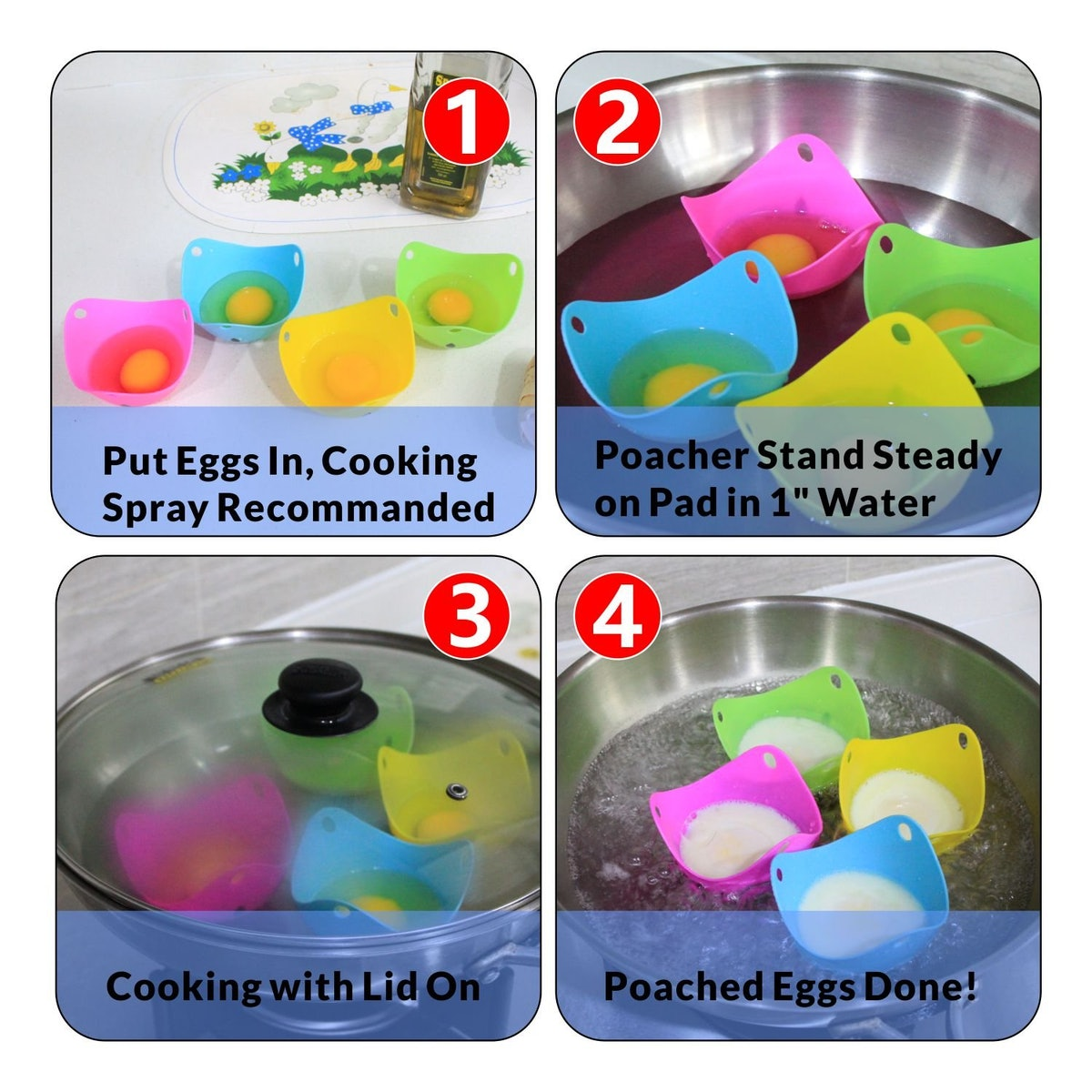 COZILIFE Silicone Egg Poaching Cups (4-Pack)