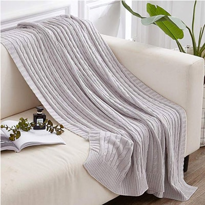 NTBAY Cotton Cable Knit Throw Blanket