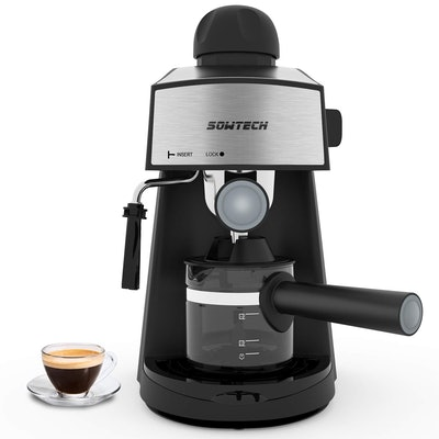 Sowtech Espresso Machine With Steam Milk Frother & Carafe
