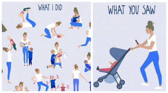 illustration of a woman performing 1,000 tasks to help baby