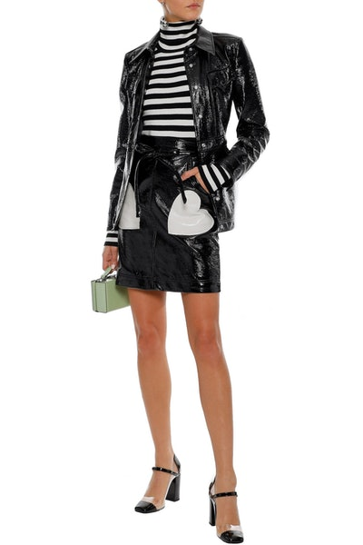 Alexa Chung Appliquéd Faux Patent Leather Mini Skirt