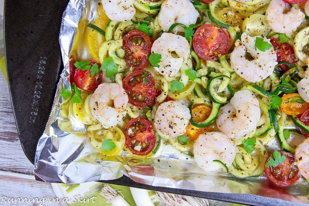 Sheet pan shrimp with zoodles or zucchini zoodles