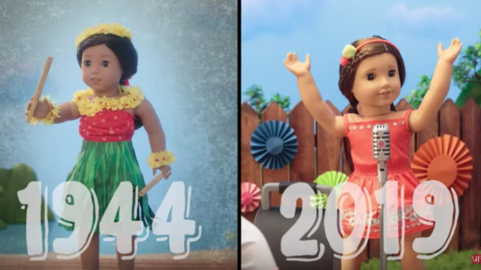 A still from an American Girl dolls video of two dolls