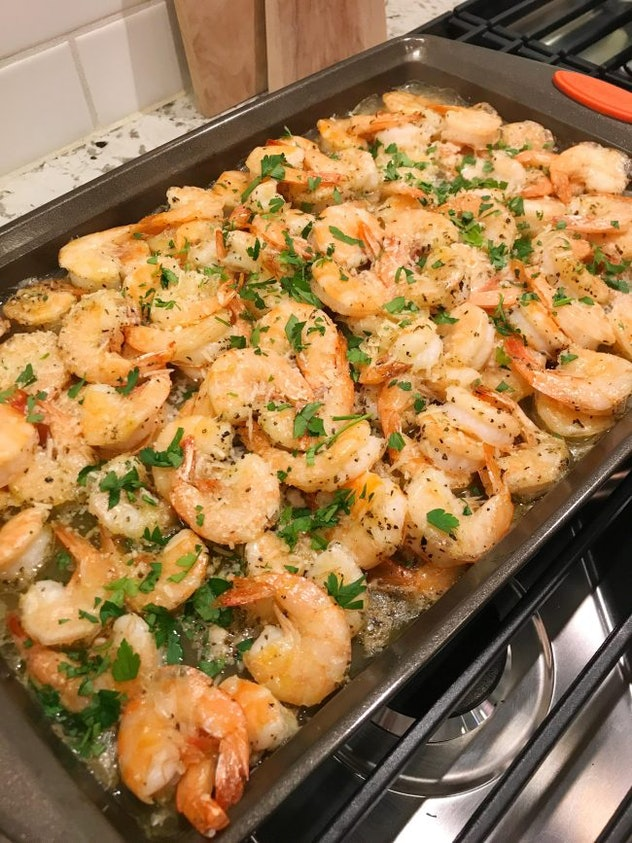 Sheet pan shrimp roasted with garlic and parmesan