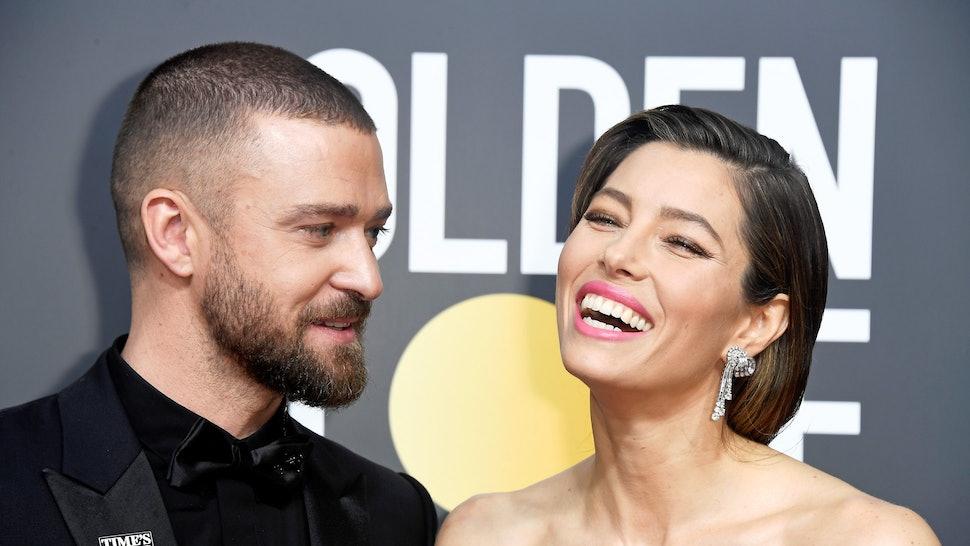 Jessica Biel dressed as an *NSYNC-era Justin Timberlake for Halloween