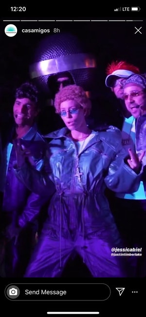 Jessica Biel and four friends dressed up as *NSYNC for a Halloween party