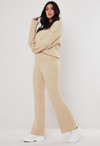 Plus Size Beige Cable Knit Flared Trousers Co-Ord