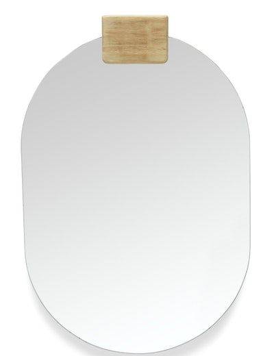 MoDRN Naturals Oval Mirror with Wood Accen