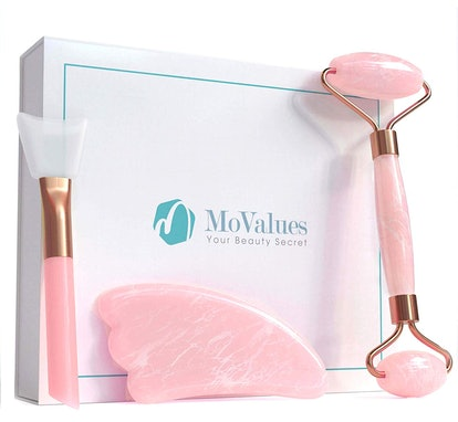 MoValues Original Jade Roller for Face and Gua Sha Set