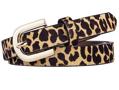 DG Leather Leopard Print Belt