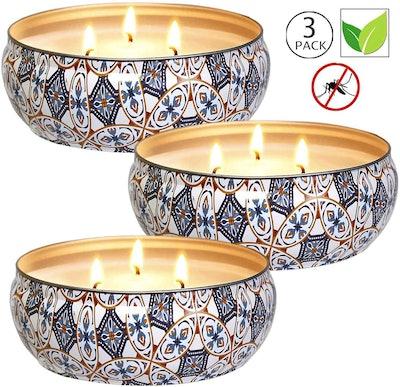 YIHANG Soy Wax Citronella Candles (Set of 3)