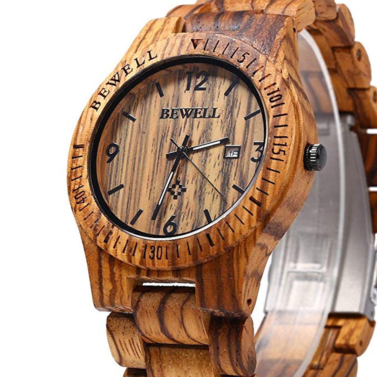 Bewell W086B Mens Wooden Watch