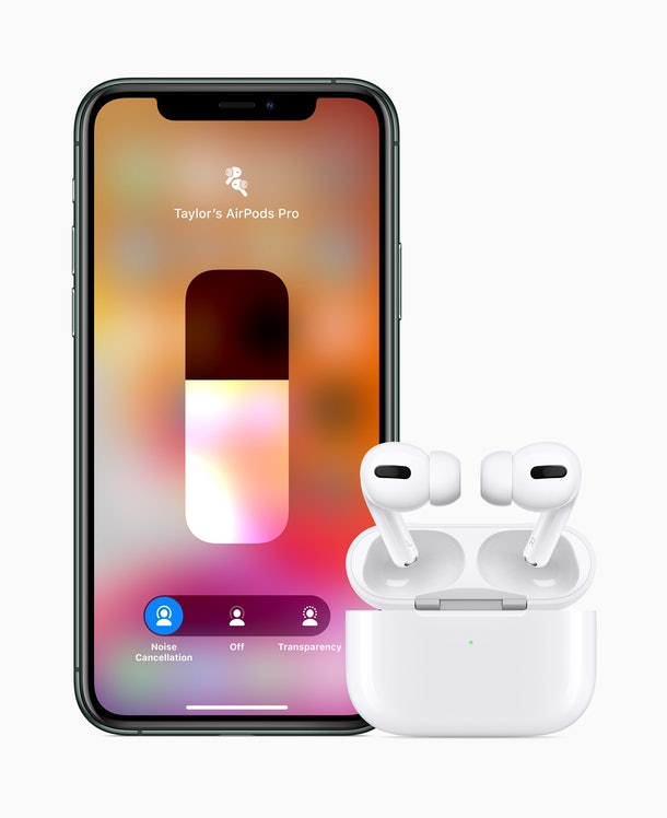 Apple's New AirPods Pro Headphones include the ability to switch between transfarency and noice-cancelling mode.