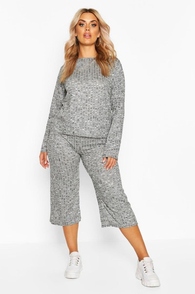 Plus Rib Long Sleeve Top & Culotte Co-Ord
