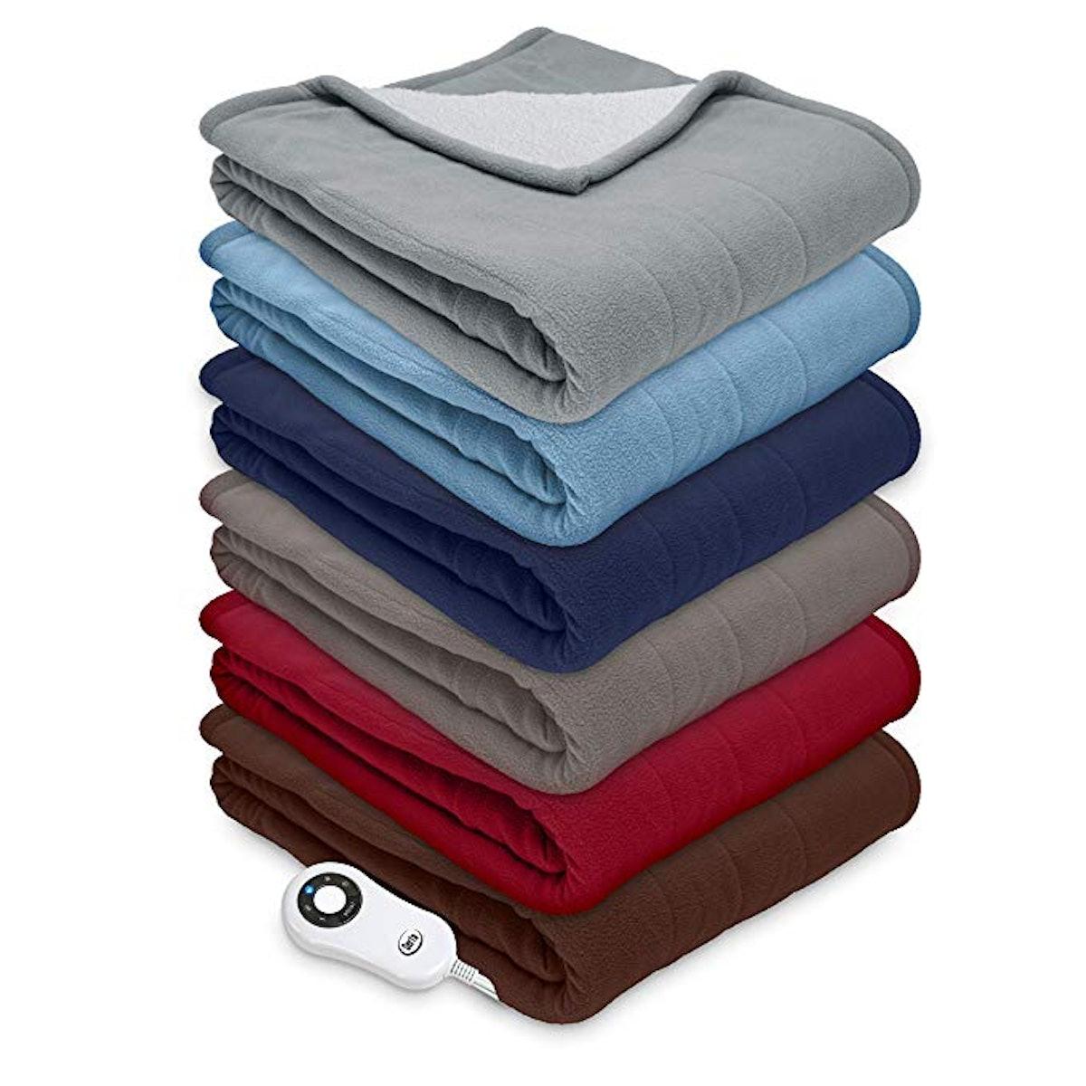 Serta Reversible Sherpa/Fleece Heated Electric Throw Blanket