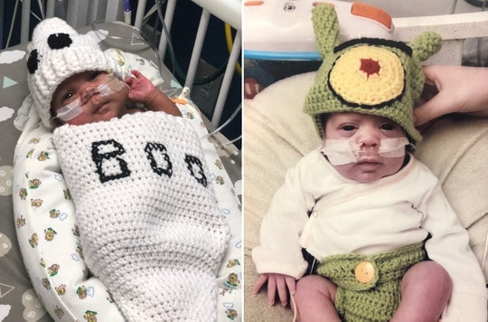 NICU babies at Children's Healthcare of Atlanta celebrate their first Halloween with special costumes crocheted for them by a NICU nurse.