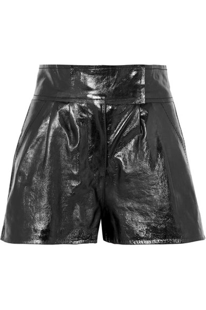 Destiny Pleated Textured-Leather Shorts