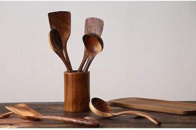 NAYAHOSE Natural Teak Wood Kitchen Utensils (4 Pieces)