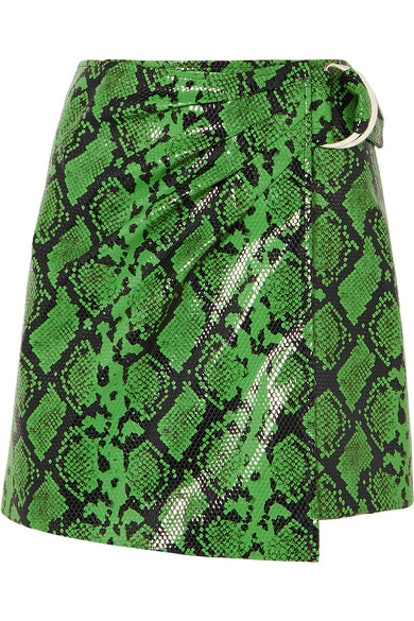 Kaya Snake-Effect Faux Leather Wrap Mini Skirt