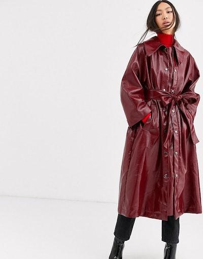 ASOS WHITE vinyl trench coat