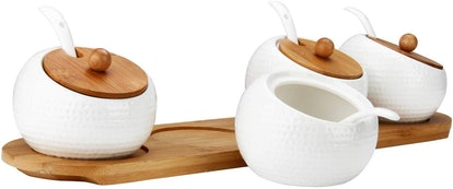 RUCKAE Porcelain Condiment Jar Spice Container with Bamboo Lid (4-Piece Set)