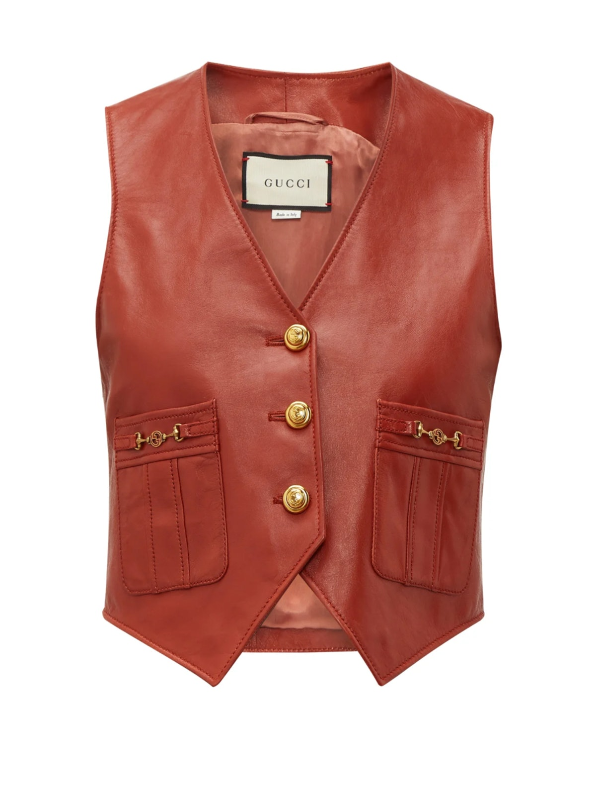 GG-Button Leather Waistcoat