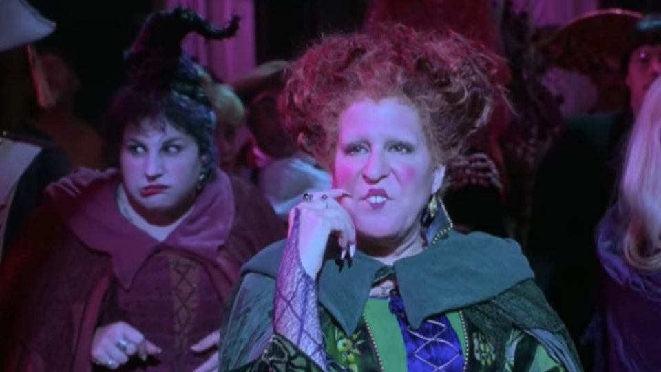 Witch Winnifred Sanderson, played by Bette Midler, pictured in the 1993 film 'Hocus Pocus'.