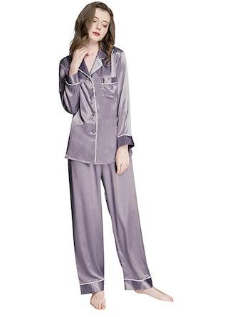 Lonxu Silk Satin Pajamas Set