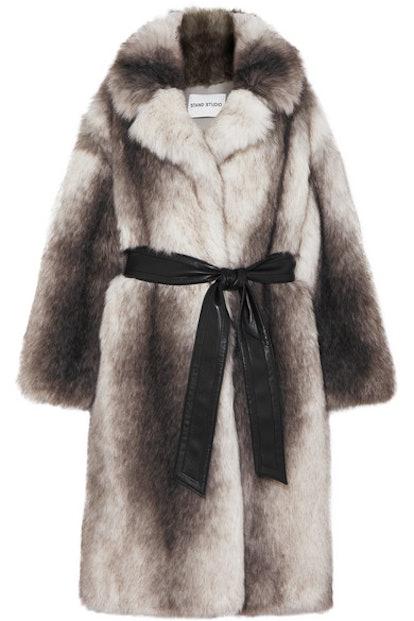 Clara Oversized Belted Faux Fur Coat