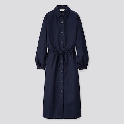 Twill Long-Sleeve Shirt Dress