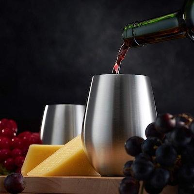 FINEDINE Stainless Steel Wine Glasses (Set of 4)