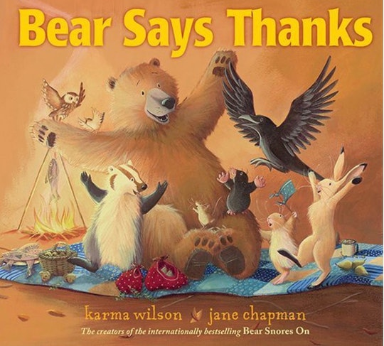 """the cover of """"bear wants more"""" by karma Wilson features an illustrated bear and other animals"""