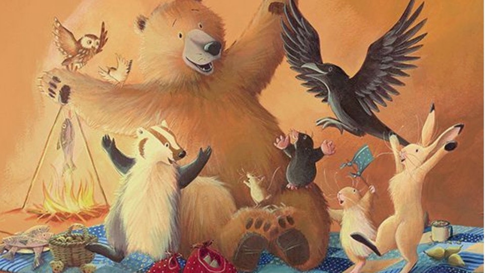 "the cover of ""bear wants more"" by karma Wilson features an illustrated bear and other animals"