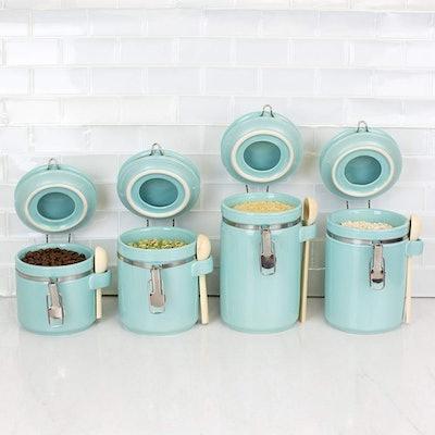 Home Basics Ceramic Canister Set W/Spoon (4 Piece)