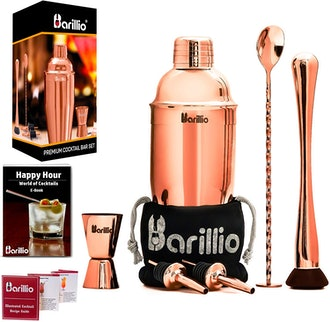 Rose Copper Cocktail Shaker Set Bartender Kit by BARILLIO