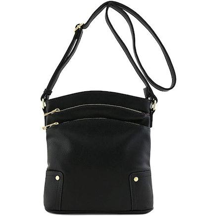 Alyssa Triple Zip Pocket Large Crossbody Bag